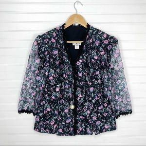 T F Vintage Made in USA Floral Lace 3/4 Sleeves Blazer Jacket Size 18